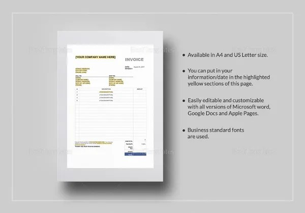Retail Invoice Template   13  Free Word  Excel  PDF Format Download     Sales Tax Invoice Template