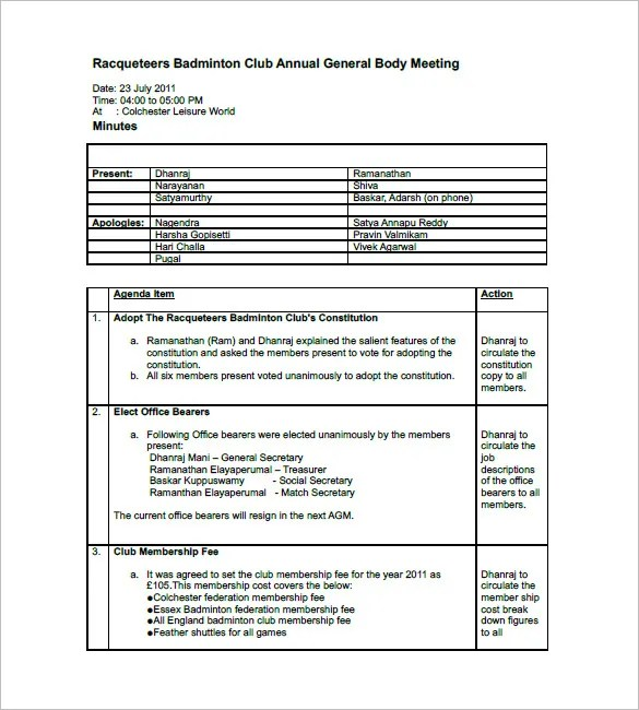 meeting minutes templates word excel pdf formats example of – Minutes Example