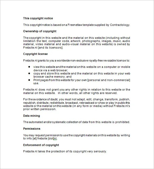 Copyright Template copyright notice example template notice of – Copyright Notice Template