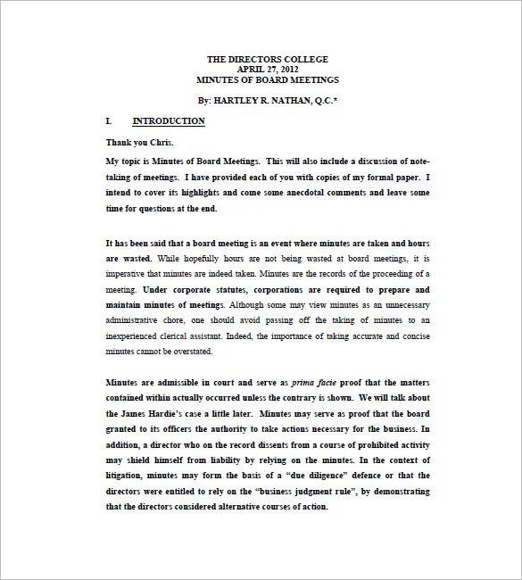 board of director meeting minutes template