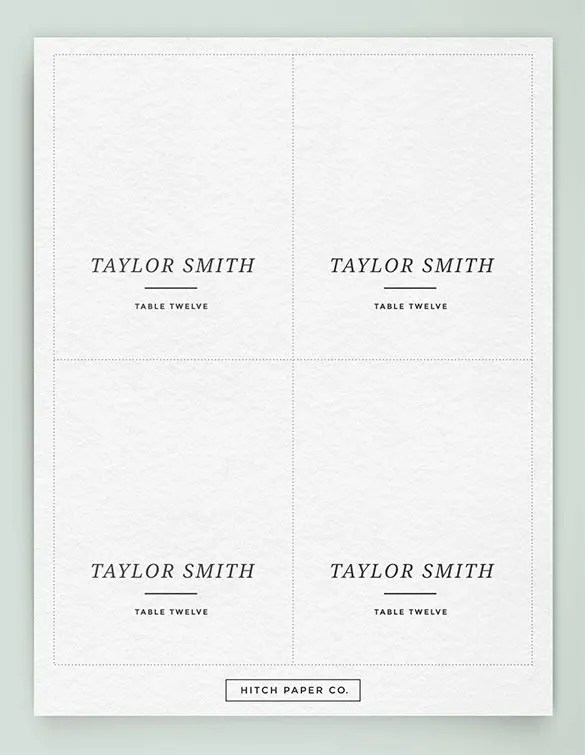 Printable Place Card Template