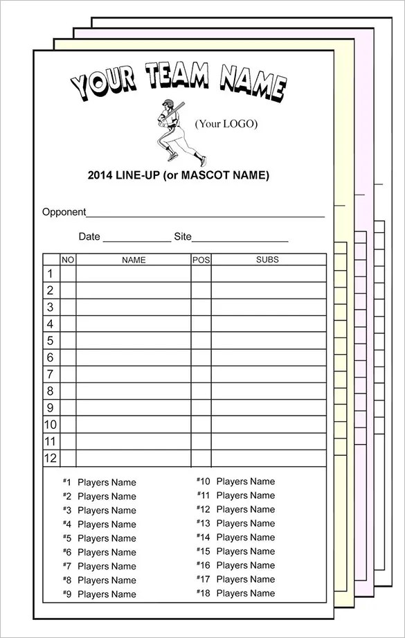 Printable Baseball Lineup Cards Excel Cardfssnorg