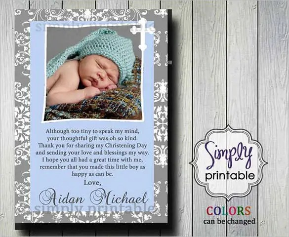 Make Your Christening Day Guests Feel Special By Sending A Lovely Thank You Card To Them Using This Template