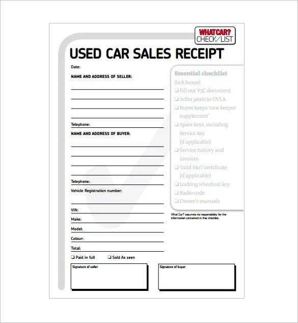 14 Car Sale Receipt Templates Doc Pdf Free Premium