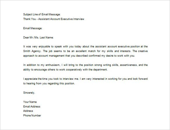 thank you interview letter template