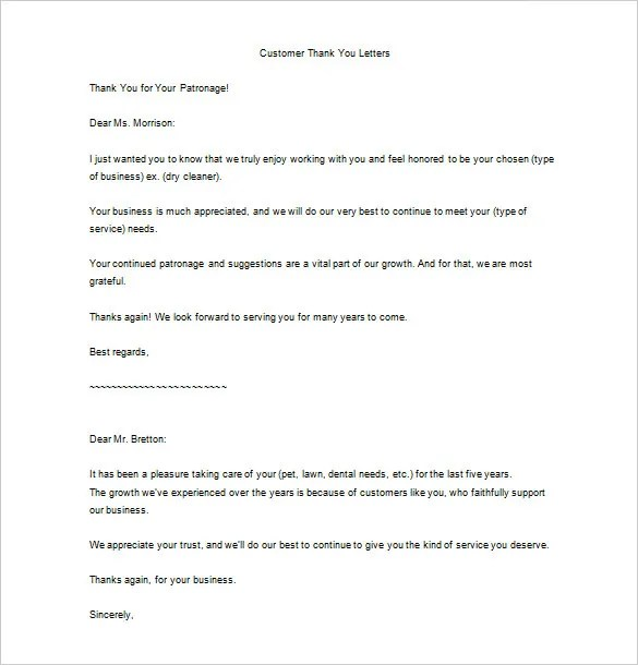 Customer Thank You Letter Templates  Docoments Ojazlink