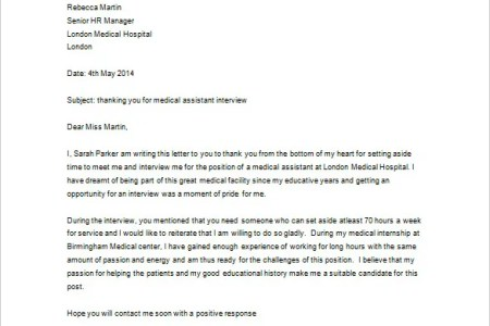 Sample Thank You Letter After Interview For Medical Assistant ...