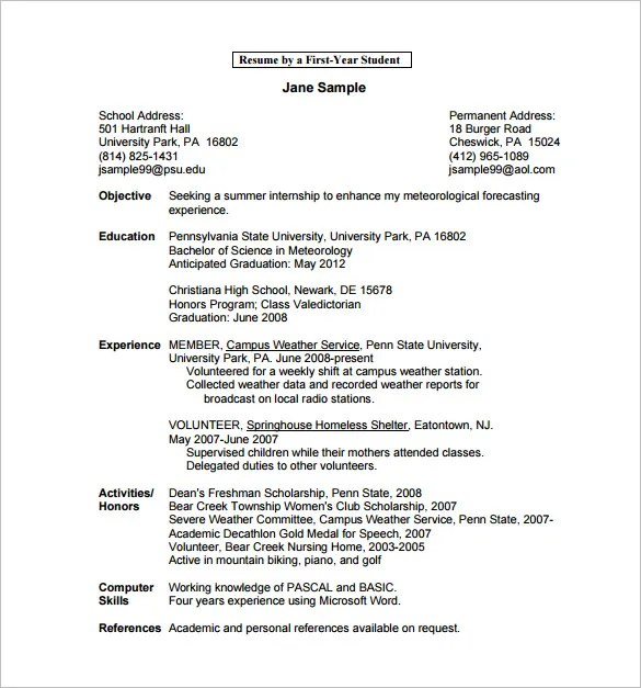 Student Resume For College Application. Sample High School Student