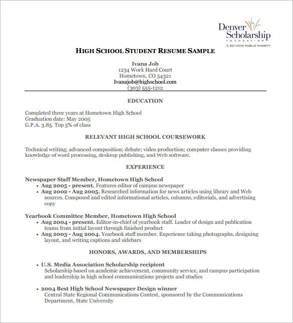 Highschool Student Resume. High School Student Resume Pdf Free