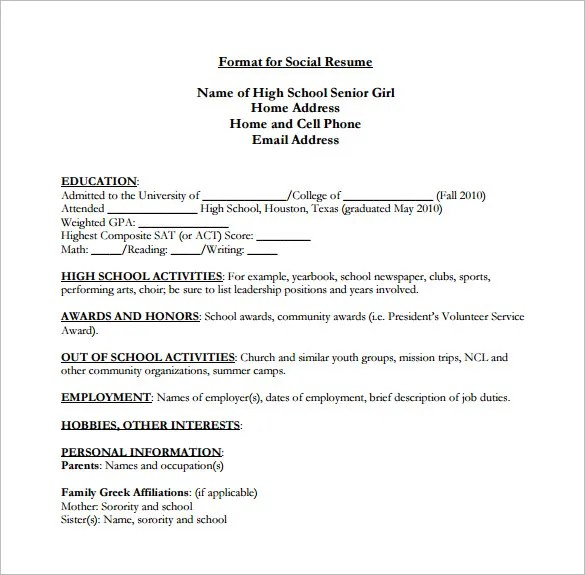 High School Resume Template Pdf. Resume Templates For Students