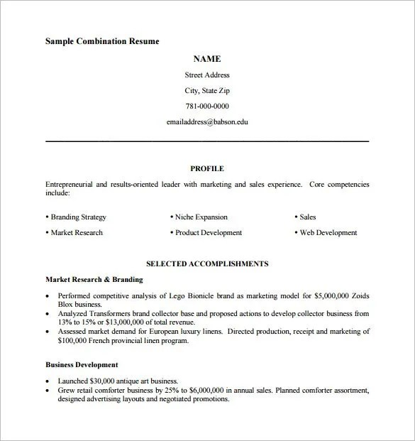 combination resume template 10 free word excel pdf format - Resume Pdf Format