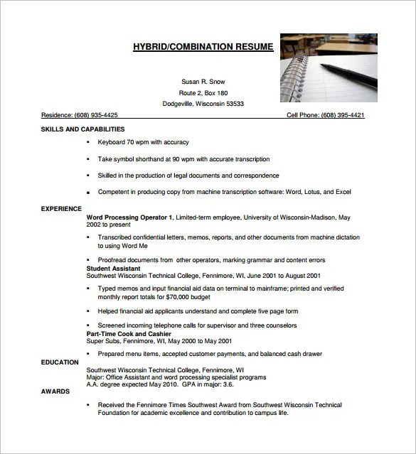 combination resume template 10 free word excel pdf format - Resume Pdf Template