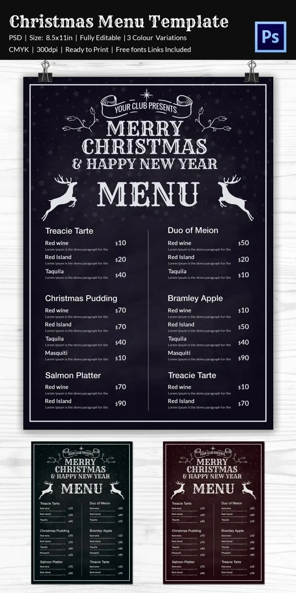 Christmas Menu Template 37 Free PSD EPS AI Illustrator Word Format Download Free