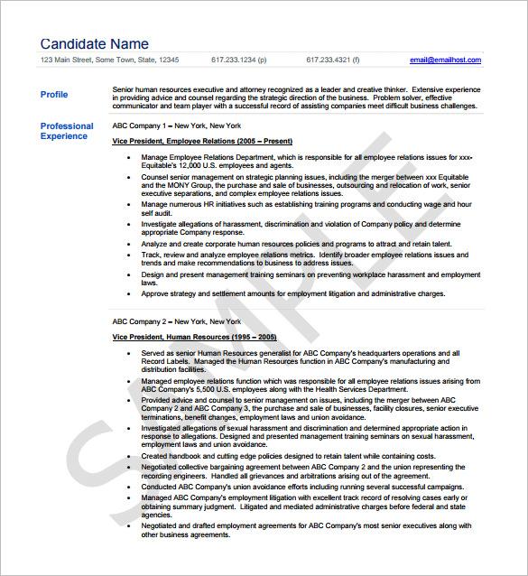 Senior Hr Resume Format. Resume Format Fresher Resume Examples