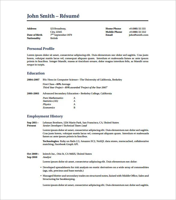 resume pdf templates hvac resume template 7 free samples examples