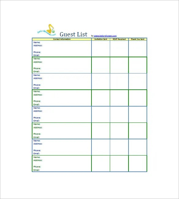 Amazing ... Wedding Guest List Template Pdf Wedding Invitation Sample U2013 Free  Printable Baby Shower Guest List ...
