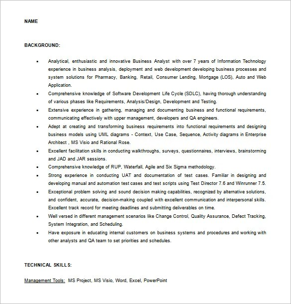 systems analyst resume