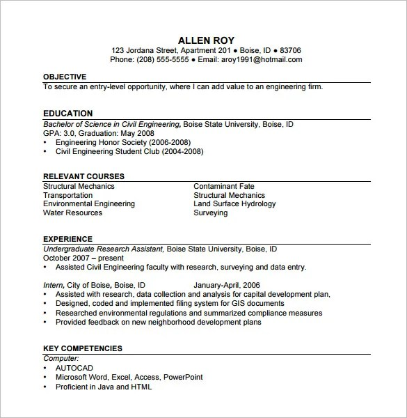 construction resume template 9 free word excel pdf format