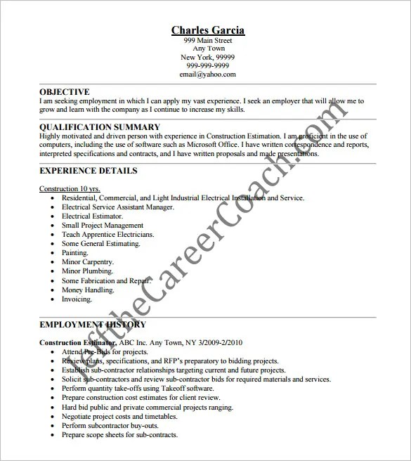 Resumes For Construction Estimator. nick martin resume ...