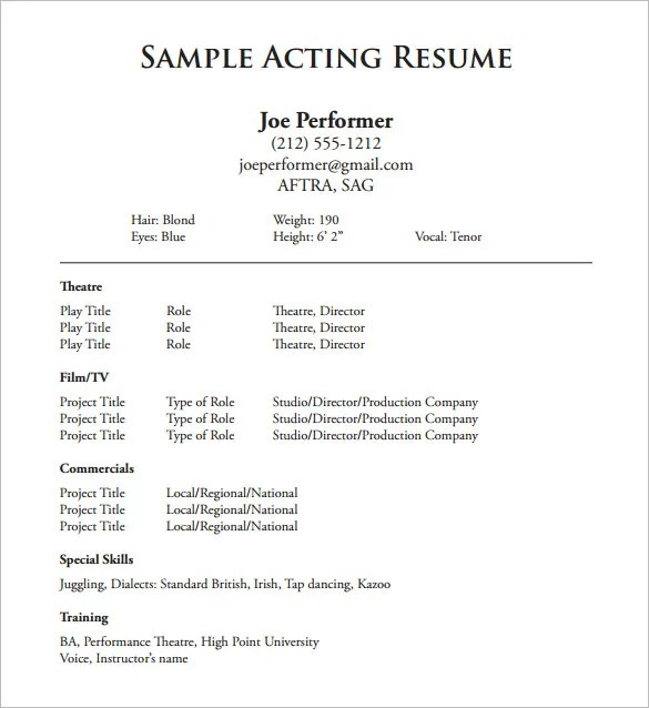 Make An Acting Resume. Acting Tips How To Make An Acting Resume