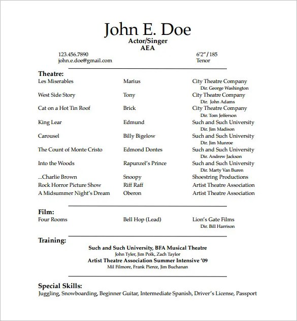 Acting Resume Guidelines. Acting Resume Template 19 Download In