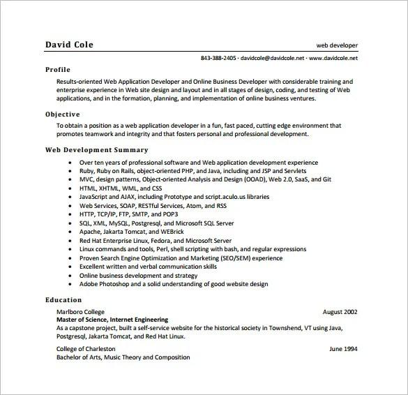 Web Developer Resume Template 11 Free Word Excel Ps Pdf