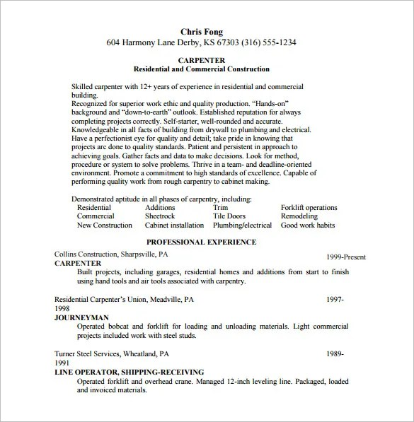 Cover Letter For Unit Clerk With No Experience: Carpentry Skills Resume