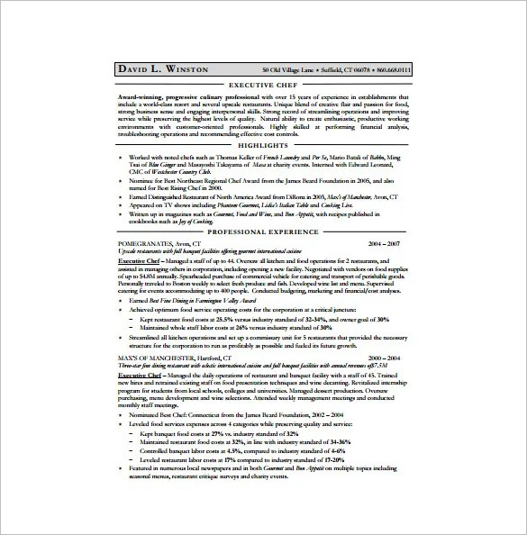 Pastry Chef Resume Pdf. Chef Resume Template Download. Chef Resume