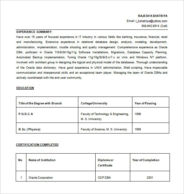 oracle database administrator resume word free download wong solo