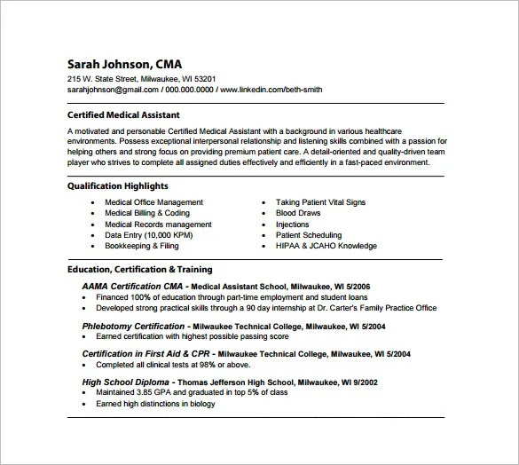 Medical Istant Resume Template 8 Free Word Excel Pdf  Skills For Medical Assistant Resume