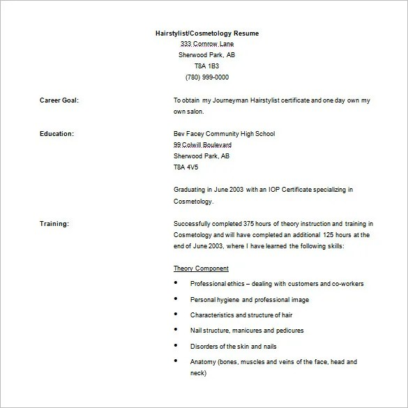 Cosmetology Resume Examples Beginners - Template