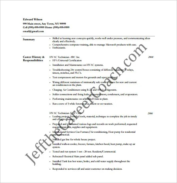 Hvac Resumes Examples. Hvac Technician Resume Examples In Sample