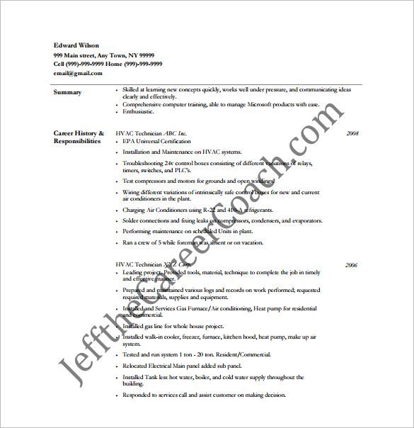 hvac service technician resume sample hvac technician resume samples
