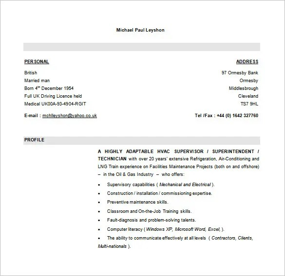 Hvac Resume Example. Resume Sample Hvac Project Manager Resume