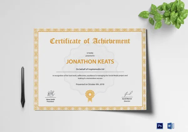 Certificate Template   45  Free Printable Word  Excel  PDF  PSD     Achievement Certificate Design Template