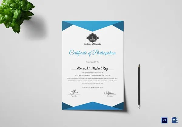 Certificate Template   45  Free Printable Word  Excel  PDF  PSD     Sample Participation Certificate Template