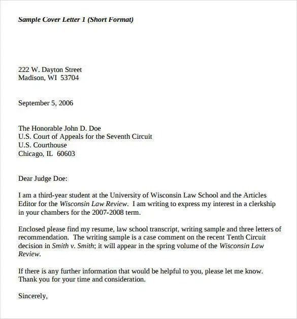 Cover Letter Legal Format Template Law