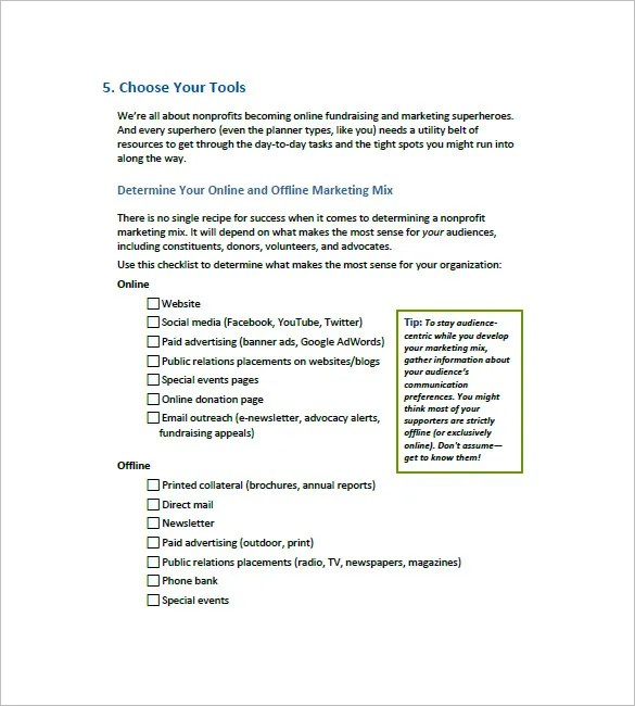 10 Non Profit Marketing Plan Templates Word Apple Pages