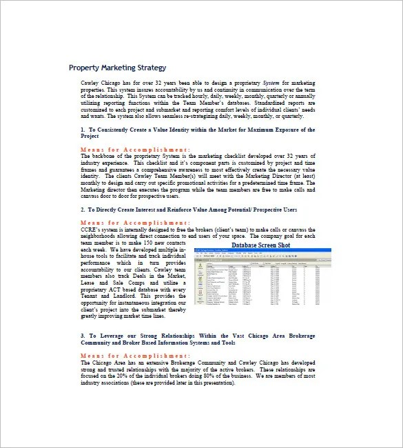 Real Estate Marketing Plan Template 9 Free Word Excel