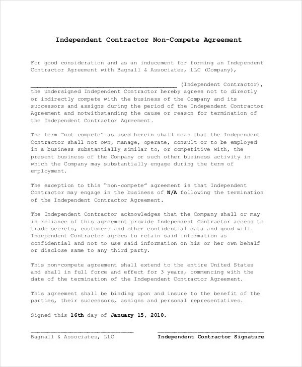 Doc400518 Sample Non Compete Agreement Noncompete Agreement – Sample Non Compete Agreement Template