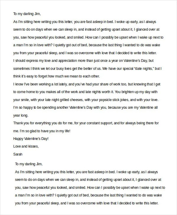 Valentine Love Letter For Him Image collections  Letter Examples