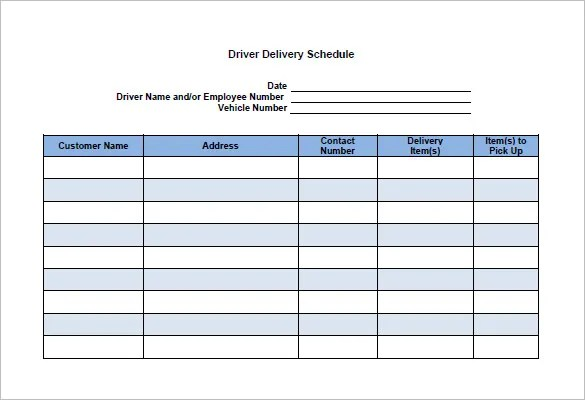 17 Delivery Schedule Templates Pdf Doc Xls Free