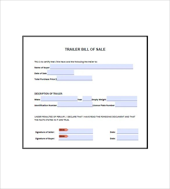 utility trailer bill of sale free download