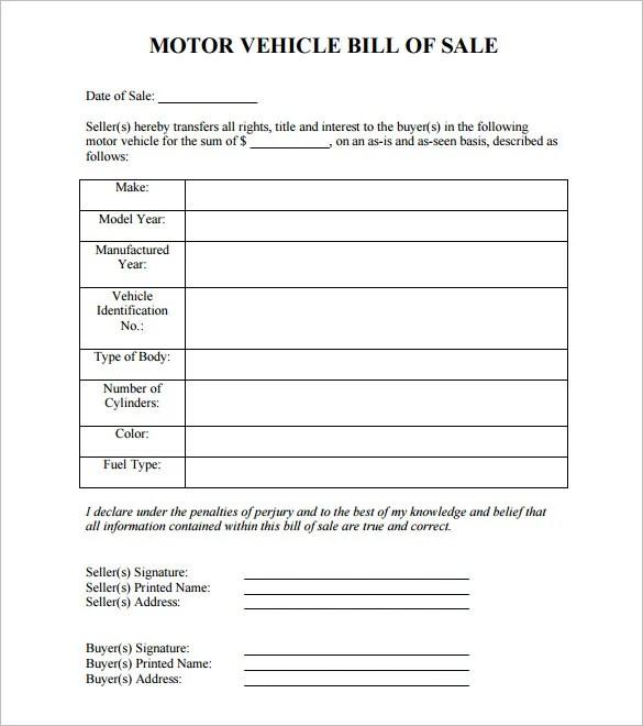 8 Auto Bill Of Sale Doc Pdf Free Premium Templates