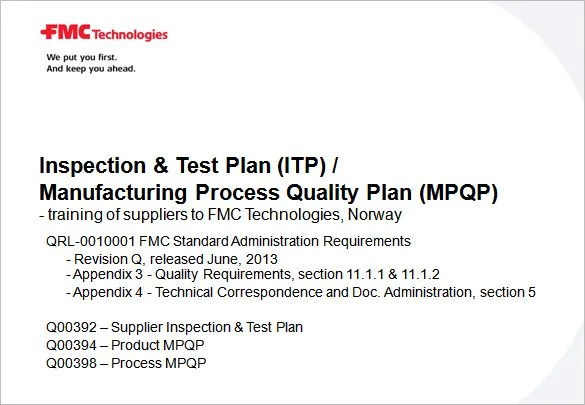 Inspection Test Plan Template Defining Level Of In Itp And