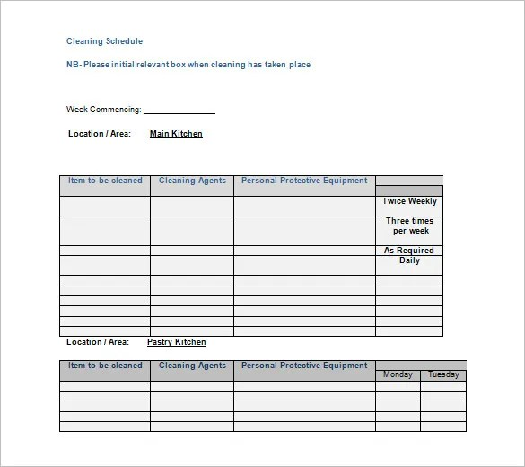 Cleaning List Printable Templates