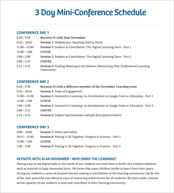 6 Conference Schedule Template Doc PDF Free