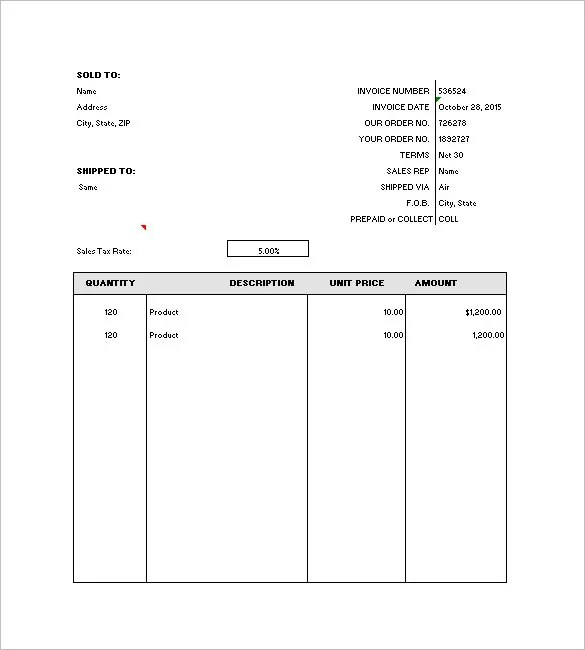 General Invoice Template 27 Free Word Excel Pdf Format