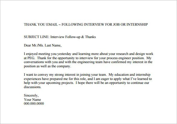 Note After Short Thank You Interview