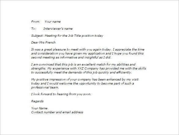 second interview thank you letter template